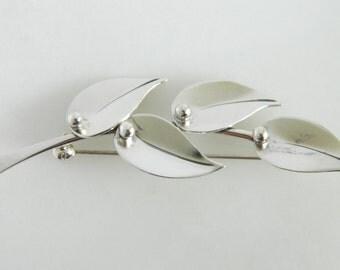 Vintage Denmark Sterling Silver Leaf Pin Brooch SCF