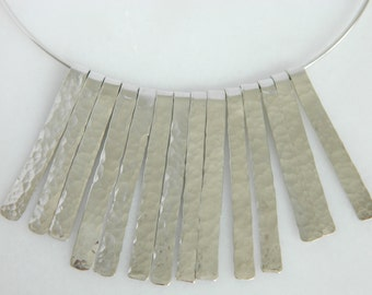 Beautiful Vintage Sterling Silver Hand Hammered Choker Necklace