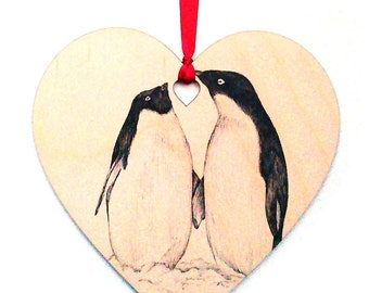 Penguin bird home decoration, Unique hand drawn wooden heart gift, Coloured ribbon, Personalised with name, Hanging heart decoration.