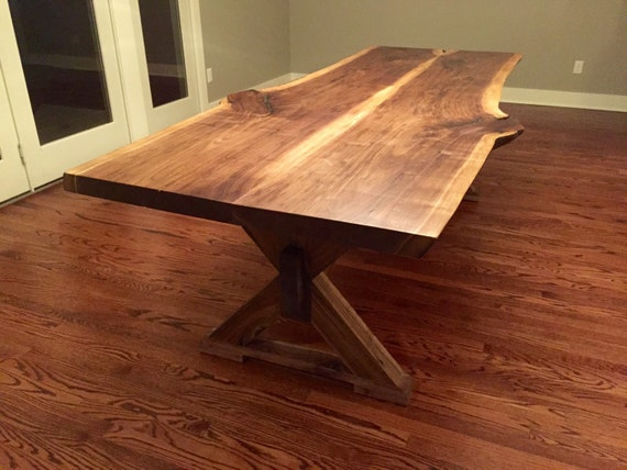 Charming Live Edge Black Walnut Dining Table With X Shaped Trestle Base   Live Edge  Designs By Plank To Table Design Inc.