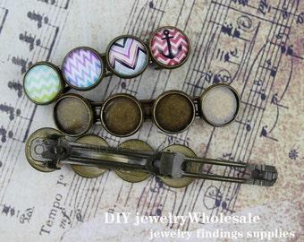 5pcs Antique Bronze Hair Clips Barrette with 12mm Setting, Barrette Setting
