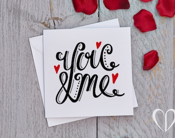You & Me Card, Typographic Card, Valentine's Card, Anniversary Card, Just Because Card, Love Card, Nzote Card, You and Me Card, Simple Card