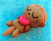 Sleeping Baby Otter + Heart plush