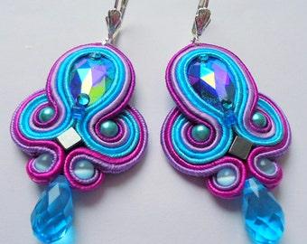 Soutache Earrings Turquoise - Violet