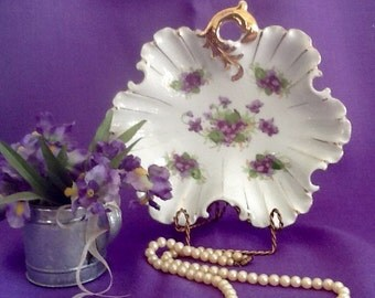 Lefton Violets Large Leaf Candy Dish