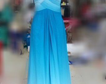 Cheap Ombre Chiffon Sweetheart Neckline Prom Dress Full Length
