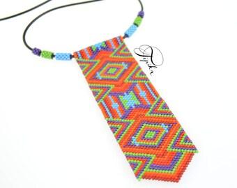 ethnic peyote handmade necklace bright colors caleidoscop