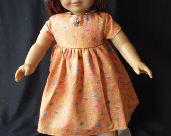 """Orange flower Dress for an 18"""" doll, just right for sunny  days - Ready to ship!"""