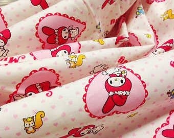 My Melody and Squirrels and Mice Hello Kitty Japanese Fabric Sanrio Co. Fabric  For Sale in Japan Only