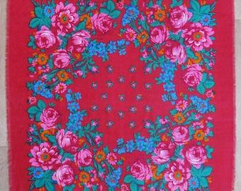 "Vintage wool shawl, 34"" x 35"", Ukrainian folk art, Russian floral shawl, Scarf, Floral pattern, Red with Flowers, USSR, Soviet Union, 1980s"