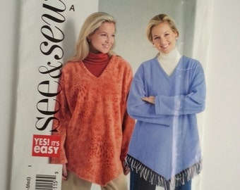 Women ponchos/V Neck/fringe/easy/long sleeve/poncho 2001 Sewing Pattern, Bust 29 30 31 32 34 36, Size 4 6 8 10 12 14, See Sew 4641 Butterick