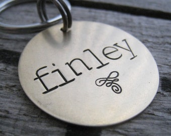 Hand Stamped Pet ID Tag - Personalized Pet/Dog Tag - Dog Collar Tag - Engraved Dog Tag - Handsatmped Pet Tag - Dog Tag