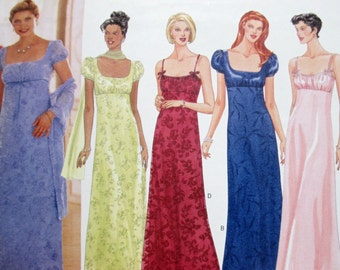 Butterick Classics 5830 ~ Evening Gown with A-Line Skirt, Fitted Bodice, Empire Waist and Scarf SIZE 12-14-16 UNCUT Sewing Pattern