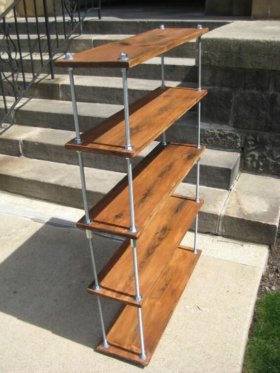 reclaimed wood shelves rustic industrial by jerseywoodpecker. Black Bedroom Furniture Sets. Home Design Ideas