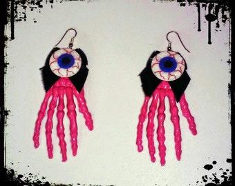 Cute N Creepy Pastel Goth Psychobilly Pink Skeleton Hand Eyeball Earrings