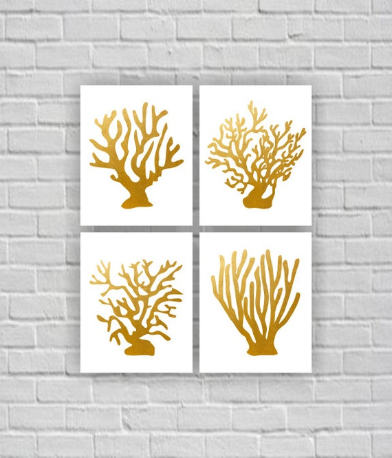 Instant Stencils For Walls : Gold sea coral wall art silhouette stencil by myfavoritedecor