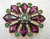 18k GEORGIAN Rhodolite Garnet Emerald & Diamond Pin/Pendant