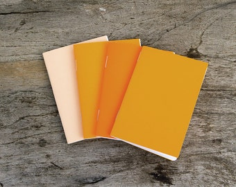 "3x4"" set of 4 notebooks orange peach notebook journal, wedding favor, party favor, tiny notebook, mini notebook, small notebook stapled"