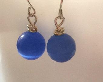 Colbalt Blue Glass Bead Drop Earrings