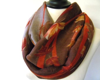 Floral Scarf Infinity Scarf Fashion Scarf Womens Scarves Loop Scarf Fall Scarf Brown Scarf Woman Accessory Leaves Pattern Scarf