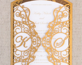 Laser Cut Gate with Custom Initials Wedding Invitation
