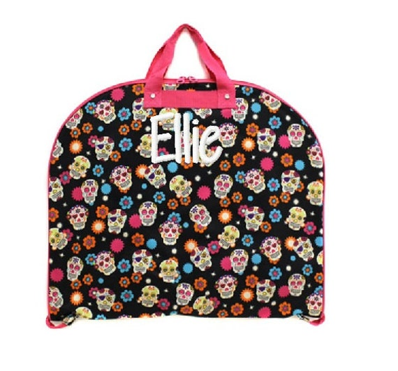 personalized garment bag sugar skull black and pink pattern