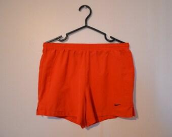 Vintage Neon Orange Nike Running Shorts - Swim Shorts