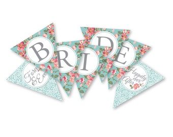"Bridal Shower bunting, banner, garland,  ""Bride to be"" bunting, Bridal Shower Instant Download, Printable DIY, Roses, Lace bunting, Aqua"