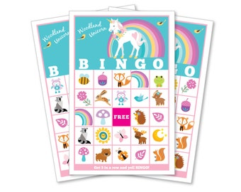 Woodland Unicorn BINGO Game - Kid's Printable Bingo Game - Bingo Game for Kids - Woodland Animals and Unicorn Instant Download