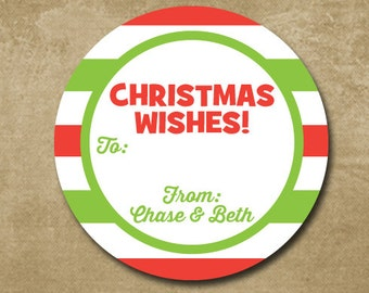 Personalized Christmas Labels, Holiday Stickers, Gift Tags for Christmas Gifts, round gift tags, Red and Green Stripes