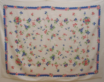 100% Linen Tablecloth with Fruit and berries motif ~ 1950's