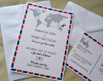 Destination Wedding Invitation, Air mail Invitation, Postcard Wedding Invitation, Beach Wedding, Paradise Invite, Custom Invitation RSVP