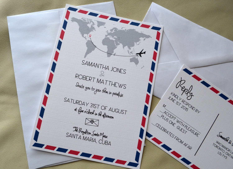 destination wedding invitation air mail invitation postcard