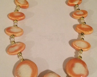Creamsicle - cremsicle jewelry, orange jewelry, orange necklace, orange earrings, orange and white jewelry, orange and cream, 2timothys16,