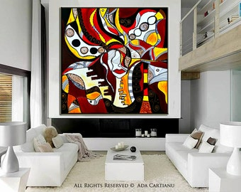 """Acrylic Painting Abstract Painting GALLERY ARTWORK - 30x30""""-, Original Acrylic Oil Painting on Canvas Contemporary Painting Wall Art"""