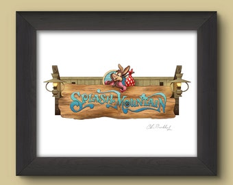 Walt Disney World Signage Digital Art Print: Splash Mountain