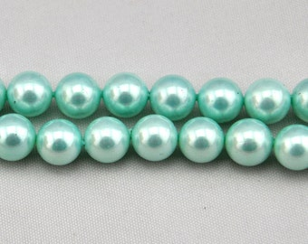 1 Strand 40pcs 10mm Freshwater Pearl,Light green Pearl Beads,10mm Pearl,Shell pearl has,Gemstone Beads--- J0104