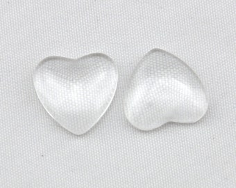 15pcs 16mm Heart Shape Clear Glass Cabochon Cover Cabs Charm Findings---X0016mm