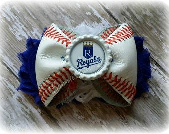 Kansas City ROYALS leather baseball headband/hair clip you choose image