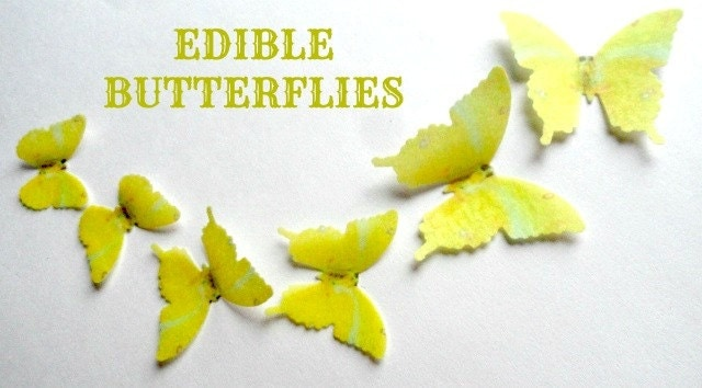 12 YELLOW Edible Wafer Paper Butterflies in 3 Assorted Sizes