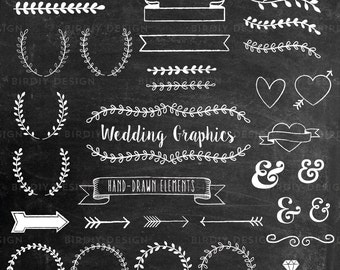 Chalkboard Wedding Clipart - Rustic Boho Wedding Clip Art - Wreath Arrow Clipart - Photoshop Brush - AI and PNG - Instant Download