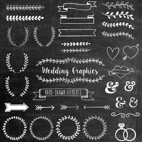 Chalkboard Wedding Clipart Rustic Boho Clip Art