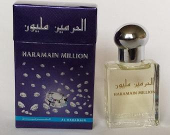 1 - Al Haramain - Million, Makkah, Musk, Madina, Khaltath, Oudi Non-Alcoholic Attar, Itr, Perfume, Fragrance Oil 15 Ml with Roll-on