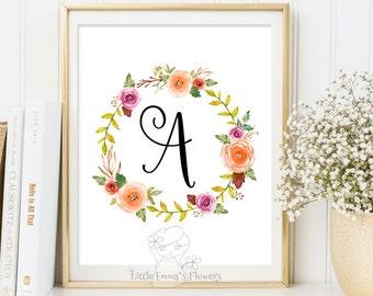 printable flower nursery initials nursery letter monogram art calligraphy monogram nursery print nursery monogram floral monogram initial 18