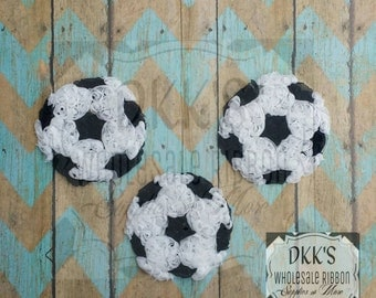 3 pc Shabby Soccer Ball- Going Out Of Business- Rosettes Soccer Ball's- 3 inches- Chiffon Unfrayed-white and black
