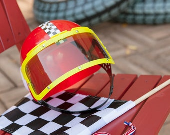 Racecar Party Favors: Driver's Helmet, Checkered Flag and Winner's Medal