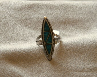 Sterling Silver Long Turquoise Chip Inlay Ring - Size 6