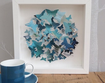 Butterfly wall art - teal turquoise butterflies - personalised gift - framed 3D  wall art