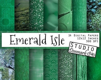 "Green Backgrounds - St Patrick's Day - ""Emerald Isle"" Celtic Ireland Digital Paper - Shamrocks / Glitter / Greenery / Wood Instant Download"
