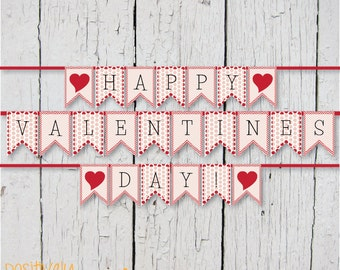 Valentine's Day Banner Red Dots and Chevron - Banner Printable
